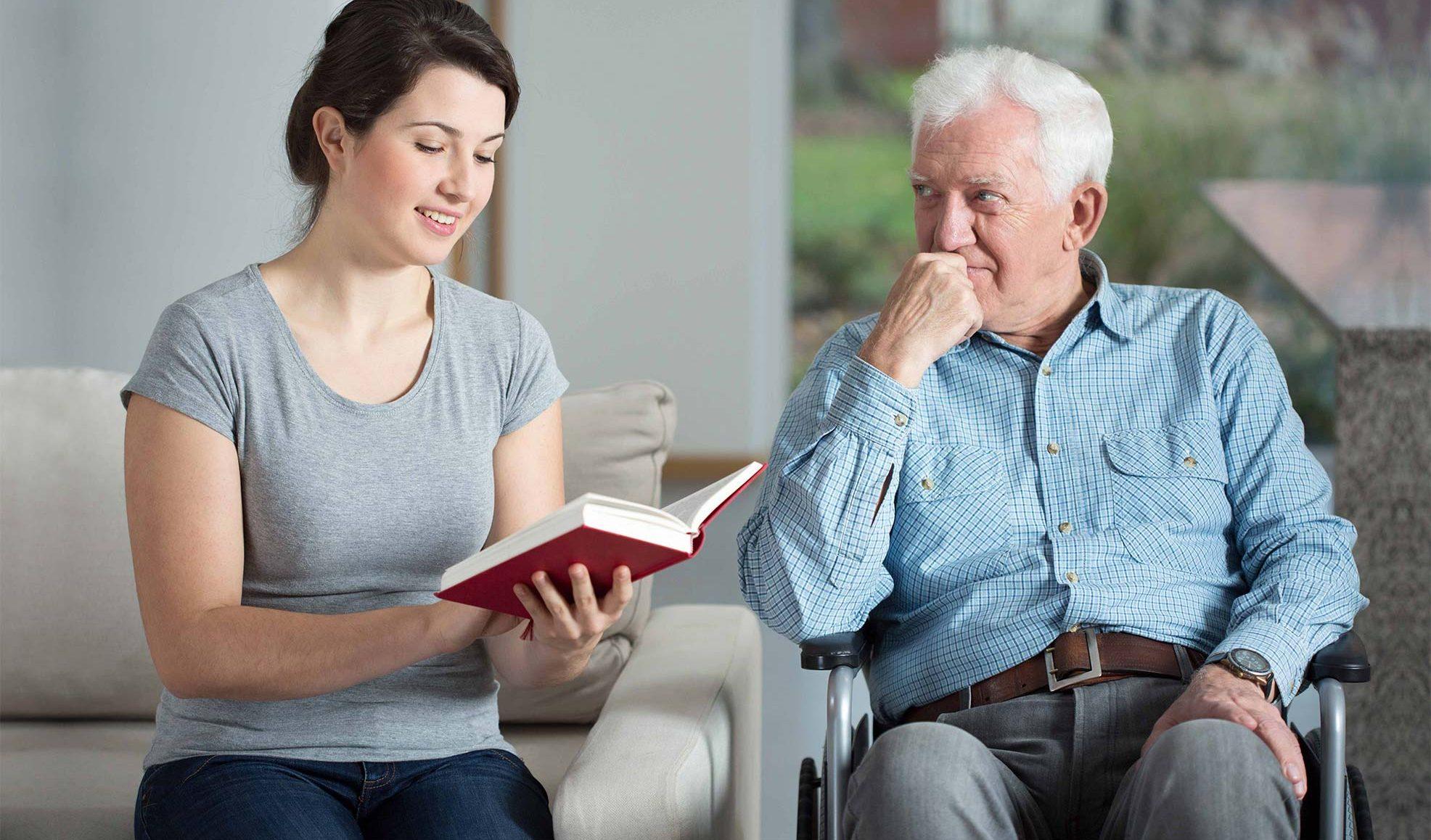 Carer with elderly man